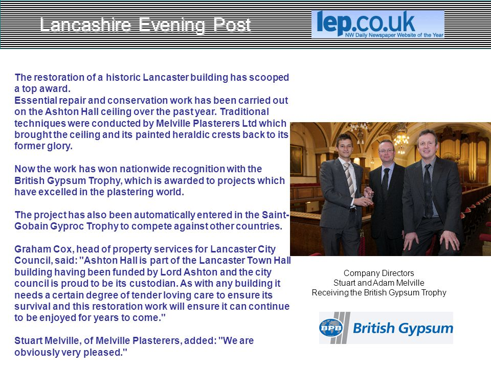 Lancashire Evening Post The restoration of a historic Lancaster building has scooped a top award. Essential repair and conservation work has been carr