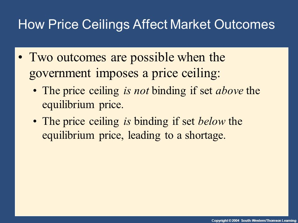 Copyright © 2004 South-Western/Thomson Learning How Price Ceilings Affect Market Outcomes Two outcomes are possible when the government imposes a pric