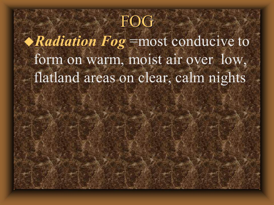 FOG u Radiation Fog = Fog that forms on a clear calm night or day break when the surface of the earth is cooled by radiation until the temperature of the air near the the surface is below its initial dew point temp.