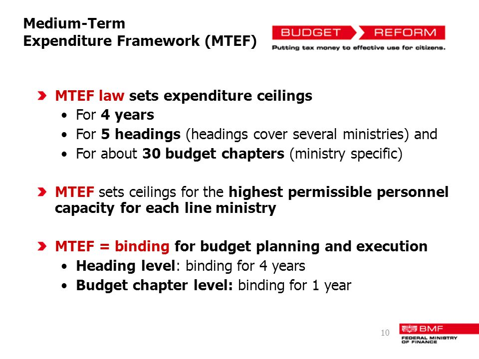 MTEF law sets expenditure ceilings For 4 years For 5 headings (headings cover several ministries) and For about 30 budget chapters (ministry specific)