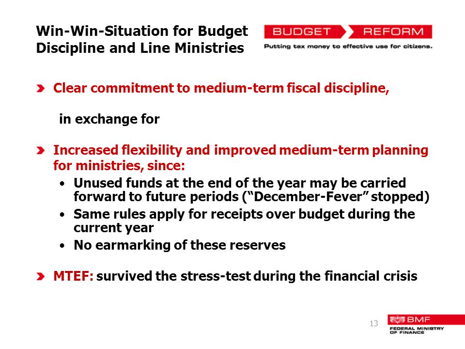 Win-Win-Situation for Budget Discipline and Line Ministries Clear commitment to medium-term fiscal discipline, in exchange for Increased flexibility a