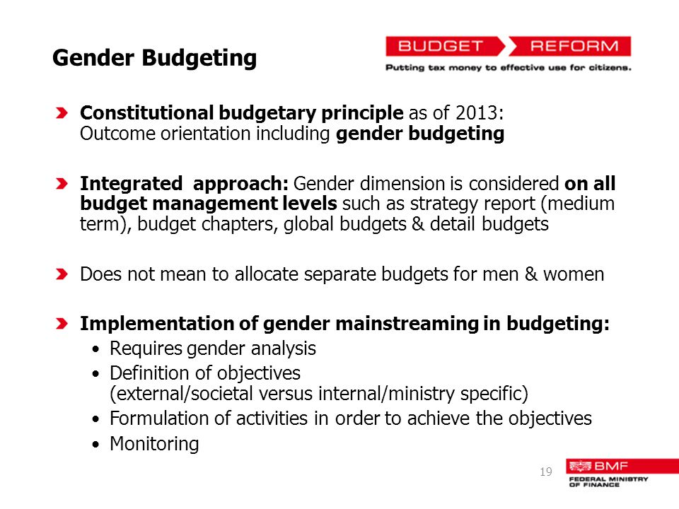 Gender Budgeting Constitutional budgetary principle as of 2013: Outcome orientation including gender budgeting Integrated approach: Gender dimension is considered on all budget management levels such as strategy report (medium term), budget chapters, global budgets & detail budgets Does not mean to allocate separate budgets for men & women Implementation of gender mainstreaming in budgeting: Requires gender analysis Definition of objectives (external/societal versus internal/ministry specific) Formulation of activities in order to achieve the objectives Monitoring 19