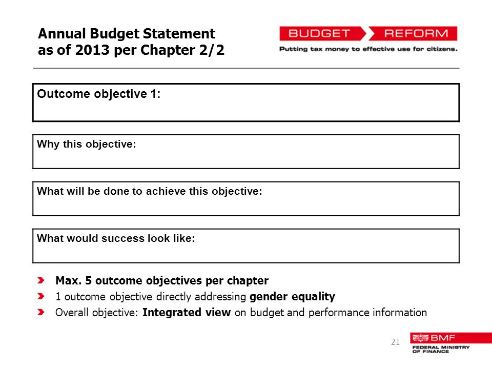 Annual Budget Statement as of 2013 per Chapter 2/2 Outcome objective 1: Why this objective: What will be done to achieve this objective: What would success look like: Max.