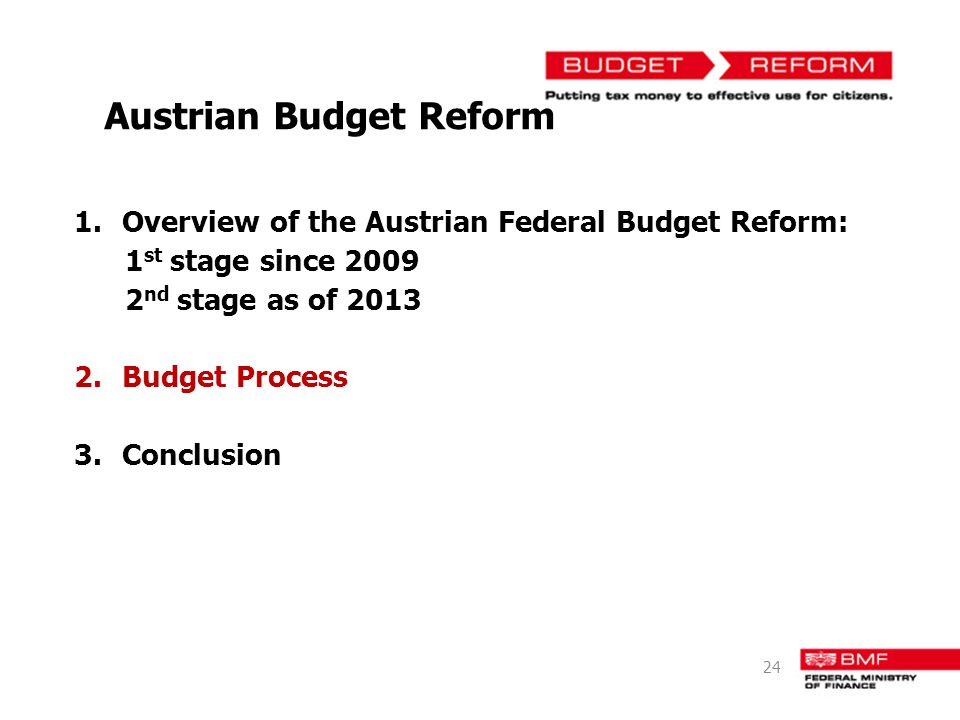 Austrian Budget Reform 1.Overview of the Austrian Federal Budget Reform: 1 st stage since 2009 2 nd stage as of 2013 2.Budget Process 3.Conclusion 24