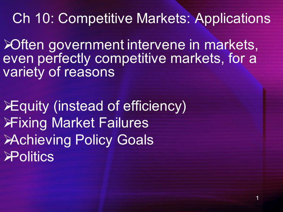 1 Ch 10: Competitive Markets: Applications Often government intervene in markets, even perfectly competitive markets, for a variety of reasons Equity