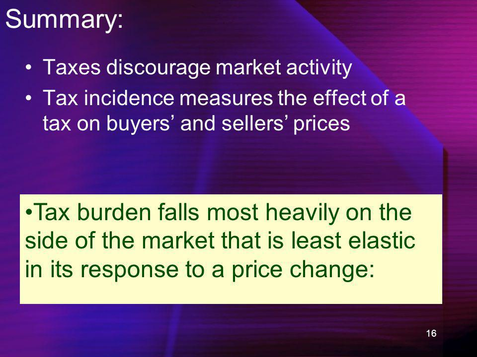 16 Summary: Taxes discourage market activity Tax incidence measures the effect of a tax on buyers and sellers prices Tax burden falls most heavily on