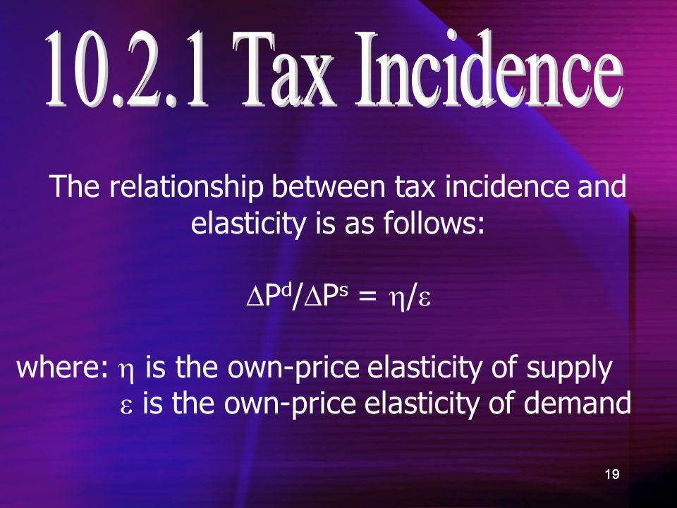 19 The relationship between tax incidence and elasticity is as follows: P d / P s = / where: is the own-price elasticity of supply is the own-price el