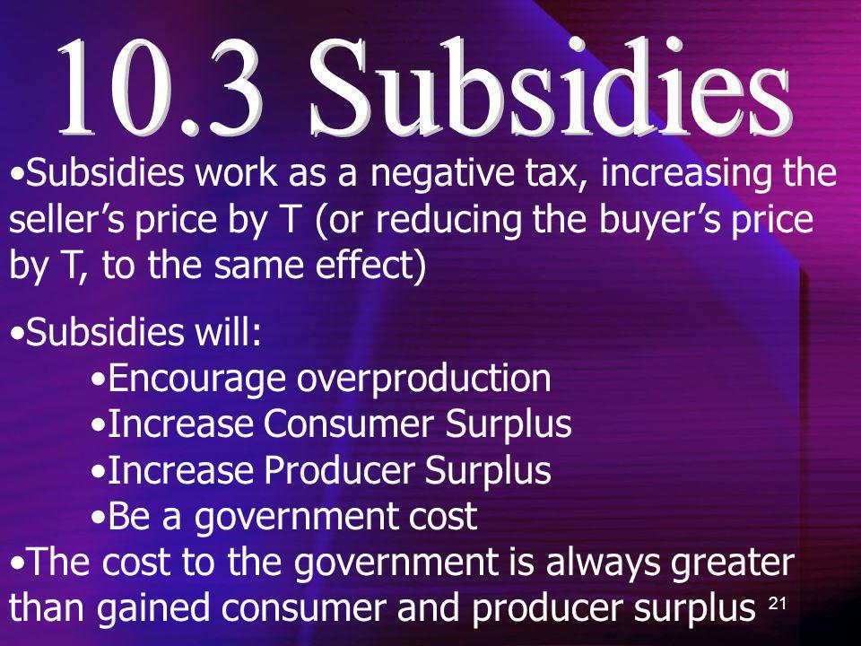 21 Subsidies work as a negative tax, increasing the sellers price by T (or reducing the buyers price by T, to the same effect) Subsidies will: Encoura