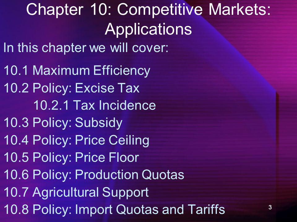 3 Chapter 10: Competitive Markets: Applications In this chapter we will cover: 10.1 Maximum Efficiency 10.2 Policy: Excise Tax 10.2.1 Tax Incidence 10