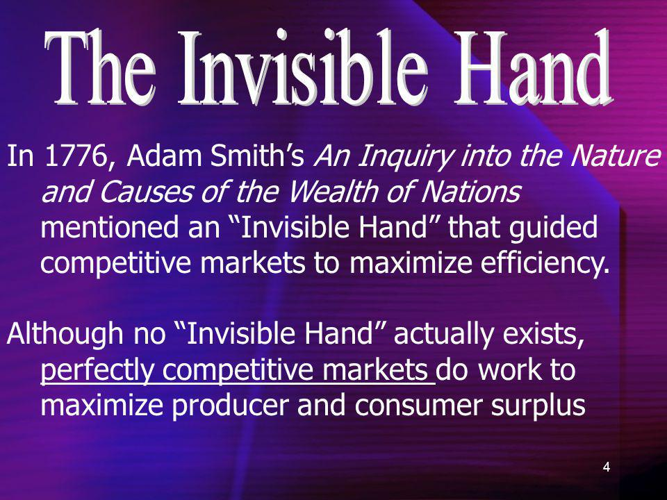 4 In 1776, Adam Smiths An Inquiry into the Nature and Causes of the Wealth of Nations mentioned an Invisible Hand that guided competitive markets to m
