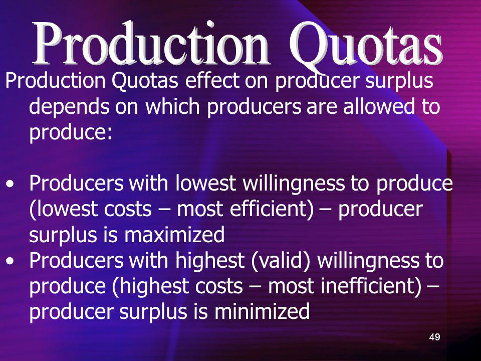 49 Production Quotas effect on producer surplus depends on which producers are allowed to produce: Producers with lowest willingness to produce (lowes