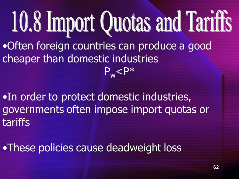 62 Often foreign countries can produce a good cheaper than domestic industries P w <P* In order to protect domestic industries, governments often impo