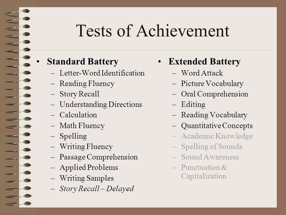 Tests of Achievement Standard Battery –Letter-Word Identification –Reading Fluency –Story Recall –Understanding Directions –Calculation –Math Fluency