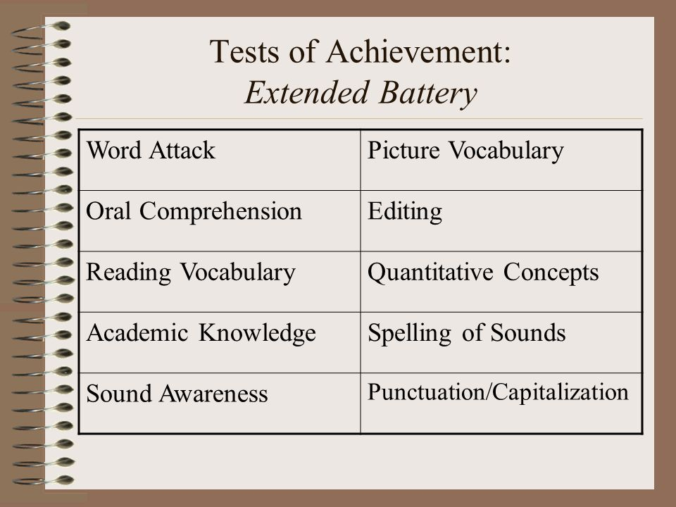Tests of Achievement: Extended Battery Word AttackPicture Vocabulary Oral ComprehensionEditing Reading VocabularyQuantitative Concepts Academic Knowle