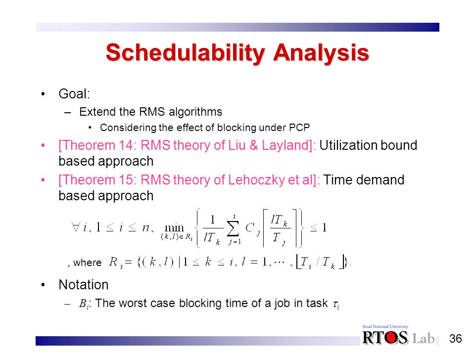 36 Schedulability Analysis Goal: –Extend the RMS algorithms Considering the effect of blocking under PCP [Theorem 14: RMS theory of Liu & Layland]: Ut