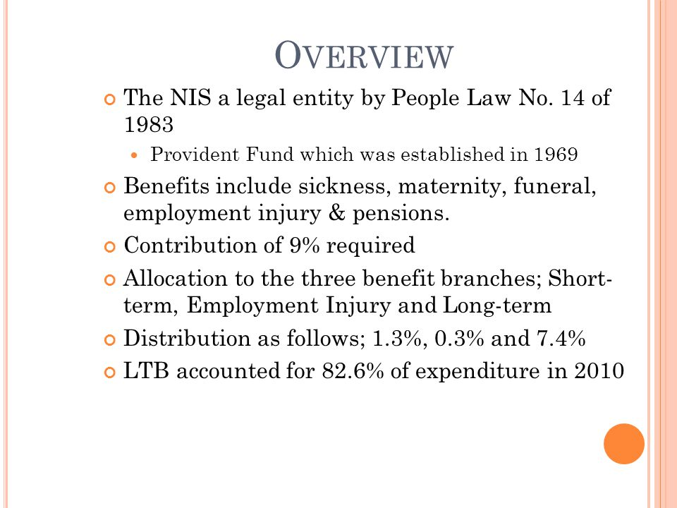 O VERVIEW The NIS a legal entity by People Law No.