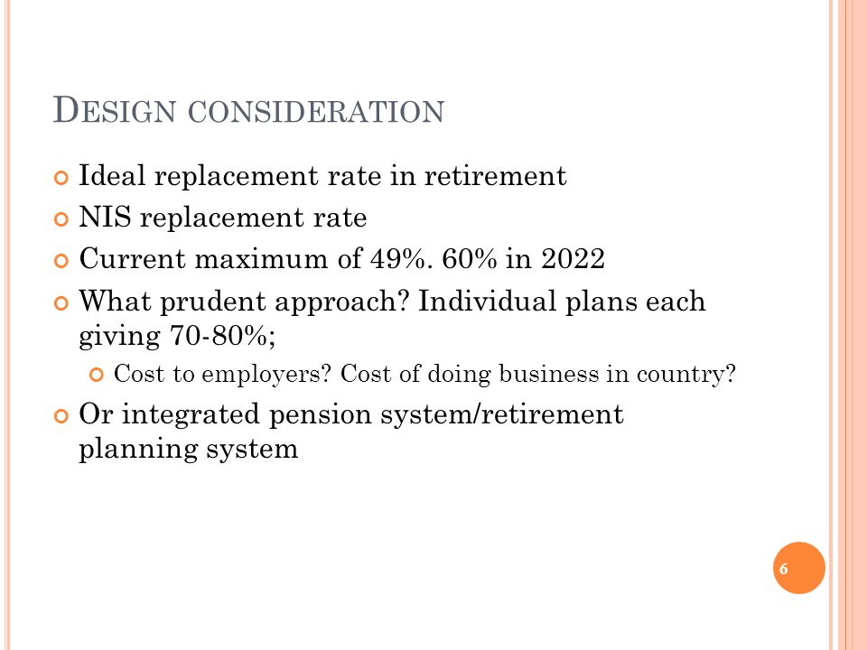 D ESIGN CONSIDERATION Ideal replacement rate in retirement NIS replacement rate Current maximum of 49%.