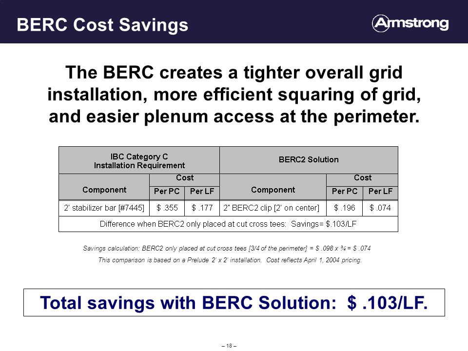 – 18 – BERC Cost Savings Total savings with BERC Solution: $.103/LF.