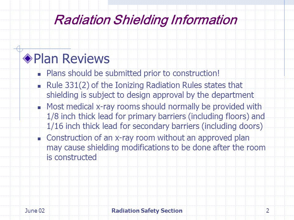 June 02Radiation Safety Section13 Radiation Shielding Information Examples Occupied space below Need 1/16 inch thick lead on floor with 1/8 thick lead under table Floor shielding should overlap wall shielding
