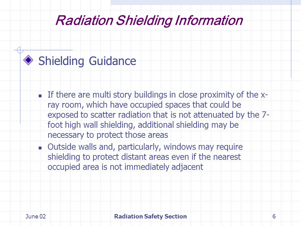June 02Radiation Safety Section17 Radiation Shielding Information Summary Submit shielding plans to the Radiation Safety Section for design approval prior to construction.