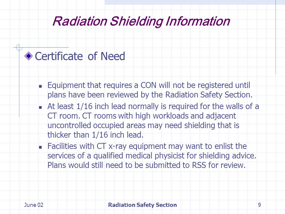 June 02Radiation Safety Section10 Radiation Shielding Information Dental Cephalometric and Tomographic Equipment.