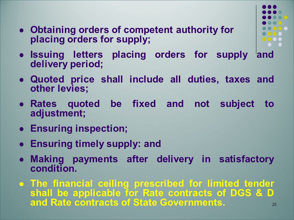 20 Obtaining orders of competent authority for placing orders for supply; Issuing letters placing orders for supply and delivery period; Quoted price