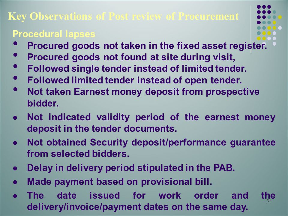 31 Key Observations of Post review of Procurement Procedural lapses Procured goods not taken in the fixed asset register. Procured goods not found at
