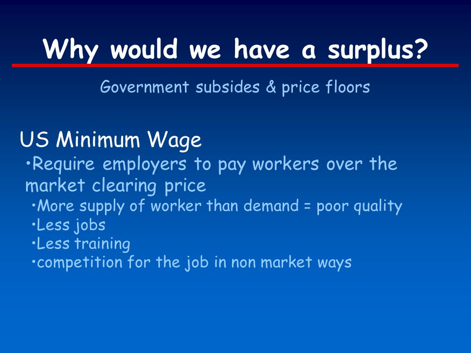 Why would we have a surplus? Government subsides & price floors US Minimum Wage Require employers to pay workers over the market clearing price More s
