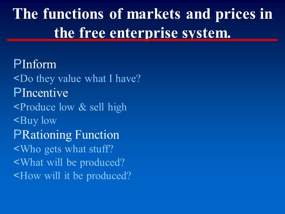 The functions of markets and prices in the free enterprise system. P Inform < Do they value what I have? P Incentive < Produce low & sell high < Buy l