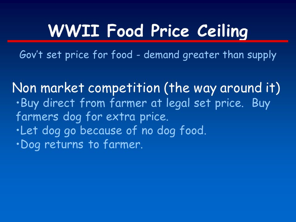 WWII Food Price Ceiling Govt set price for food - demand greater than supply Non market competition (the way around it) Buy direct from farmer at lega