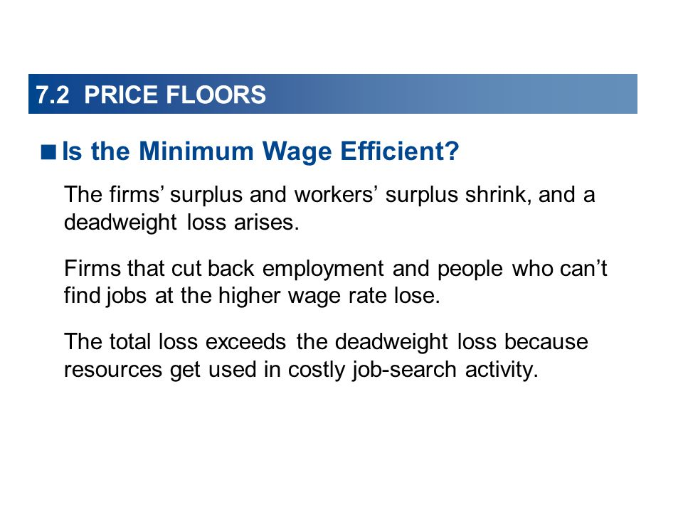 7.2 PRICE FLOORS The firms surplus and workers surplus shrink, and a deadweight loss arises.
