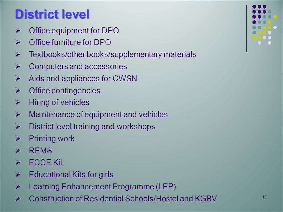 12 District level Office equipment for DPO Office furniture for DPO Textbooks/other books/supplementary materials Computers and accessories Aids and appliances for CWSN Office contingencies Hiring of vehicles Maintenance of equipment and vehicles District level training and workshops Printing work REMS ECCE Kit Educational Kits for girls Learning Enhancement Programme (LEP) Construction of Residential Schools/Hostel and KGBV