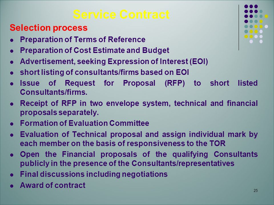 25 Service Contract Selection process Preparation of Terms of Reference Preparation of Cost Estimate and Budget Advertisement, seeking Expression of Interest (EOI) short listing of consultants/firms based on EOI Issue of Request for Proposal (RFP) to short listed Consultants/firms.