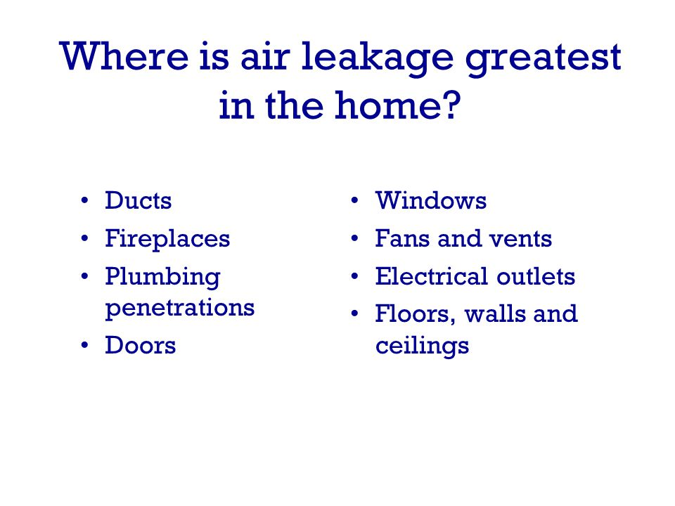 Where is air leakage greatest in the home.