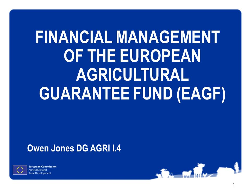 1 FINANCIAL MANAGEMENT OF THE EUROPEAN AGRICULTURAL GUARANTEE FUND (EAGF) Owen Jones DG AGRI I.4
