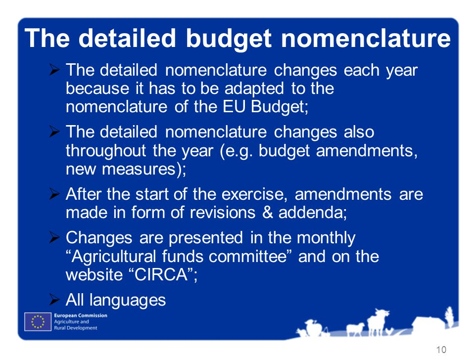 10 The detailed budget nomenclature The detailed nomenclature changes each year because it has to be adapted to the nomenclature of the EU Budget; The detailed nomenclature changes also throughout the year (e.g.