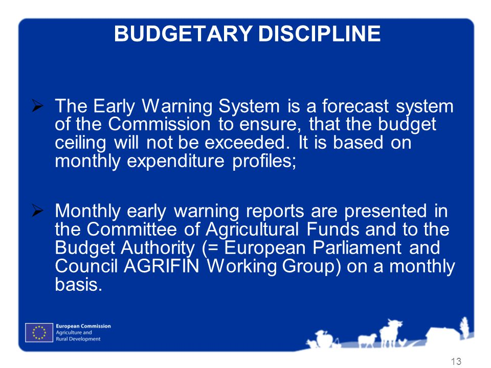 13 BUDGETARY DISCIPLINE The Early Warning System is a forecast system of the Commission to ensure, that the budget ceiling will not be exceeded.