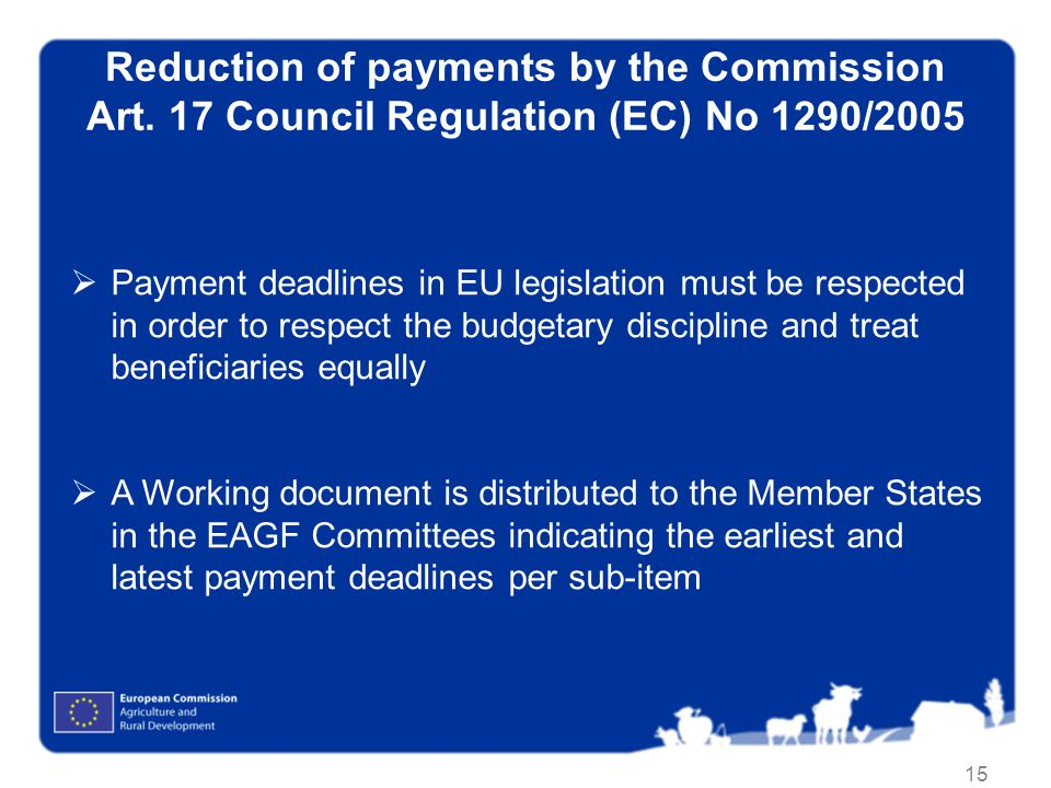 15 Reduction of payments by the Commission Art.