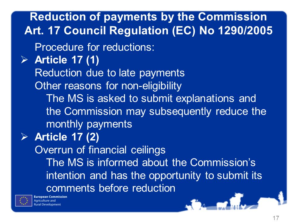 17 Reduction of payments by the Commission Art.