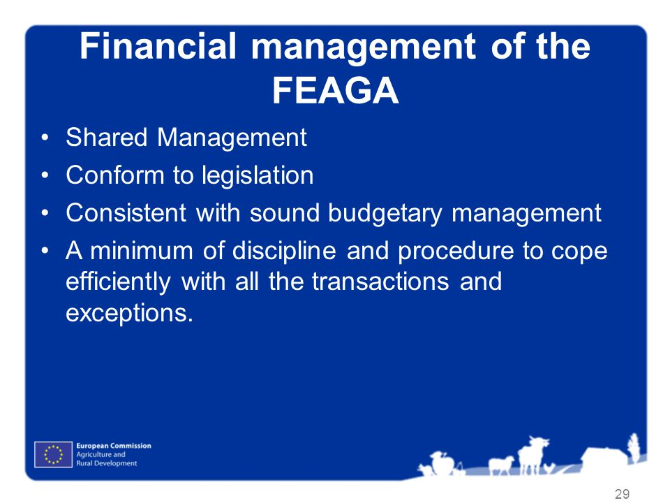 29 Financial management of the FEAGA Shared Management Conform to legislation Consistent with sound budgetary management A minimum of discipline and procedure to cope efficiently with all the transactions and exceptions.