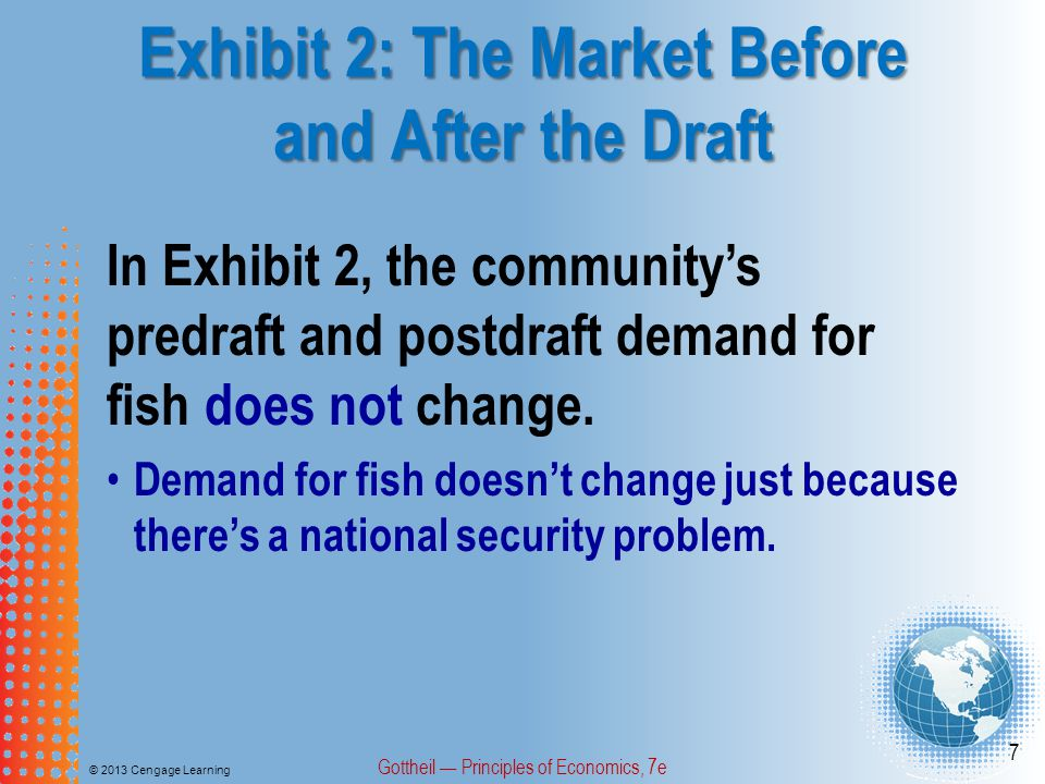 Exhibit 3: Setting a $4 Price Ceiling in the Fish Market © 2013 Cengage Learning Gottheil Principles of Economics, 7e 18 In Exhibit 3, when a $4 price ceiling is set, the market for fish: Based on the post-draft supply curve, the quantity of fish supplied falls from 7,000 to 4,000.