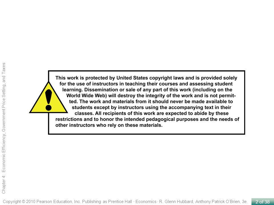 2 of 38 Copyright © 2010 Pearson Education, Inc. Publishing as Prentice Hall · Economics · R. Glenn Hubbard, Anthony Patrick OBrien, 3e. Chapter 4: Ec