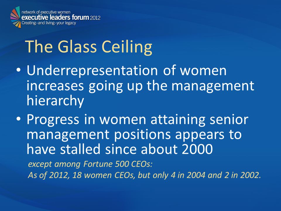 The Glass Ceiling Underrepresentation of women increases going up the management hierarchy Progress in women attaining senior management positions appears to have stalled since about 2000 except among Fortune 500 CEOs: As of 2012, 18 women CEOs, but only 4 in 2004 and 2 in 2002.