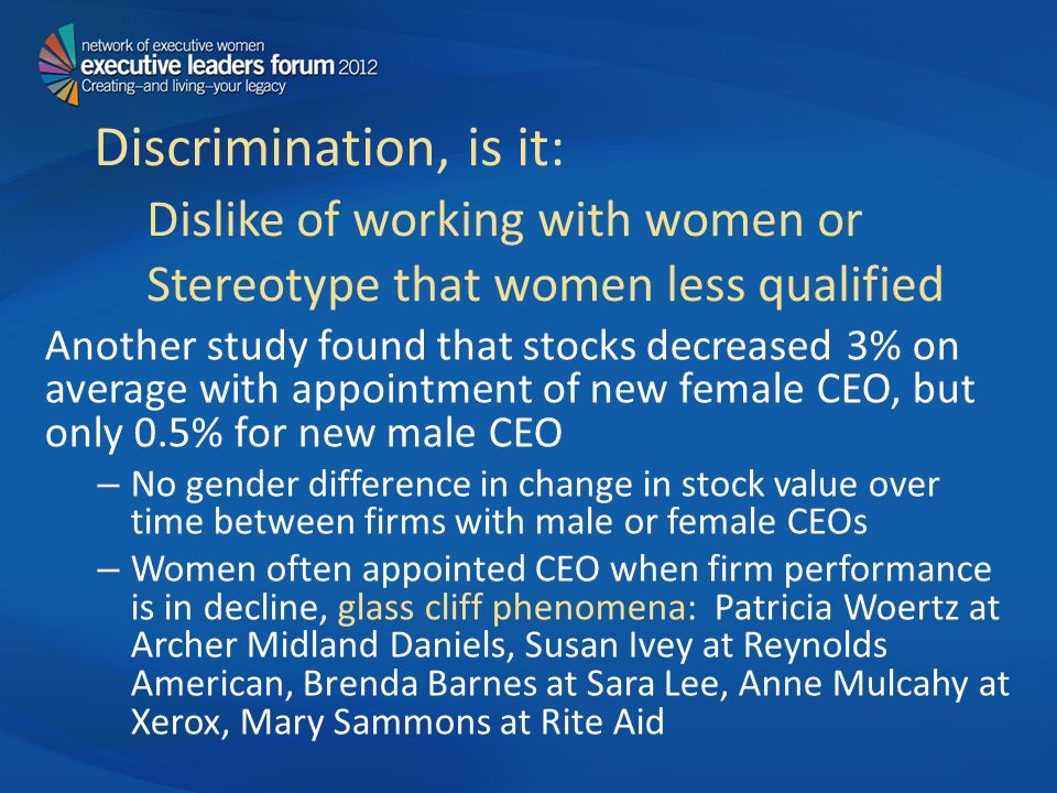 Discrimination, is it: Dislike of working with women or Stereotype that women less qualified Another study found that stocks decreased 3% on average with appointment of new female CEO, but only 0.5% for new male CEO – No gender difference in change in stock value over time between firms with male or female CEOs – Women often appointed CEO when firm performance is in decline, glass cliff phenomena: Patricia Woertz at Archer Midland Daniels, Susan Ivey at Reynolds American, Brenda Barnes at Sara Lee, Anne Mulcahy at Xerox, Mary Sammons at Rite Aid