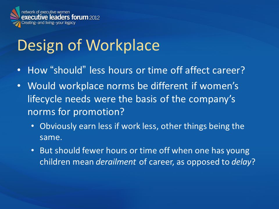 Design of Workplace How should less hours or time off affect career.
