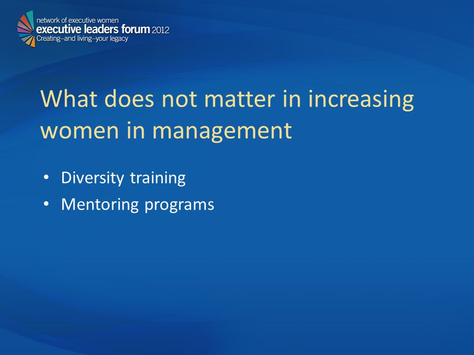 What does not matter in increasing women in management Diversity training Mentoring programs