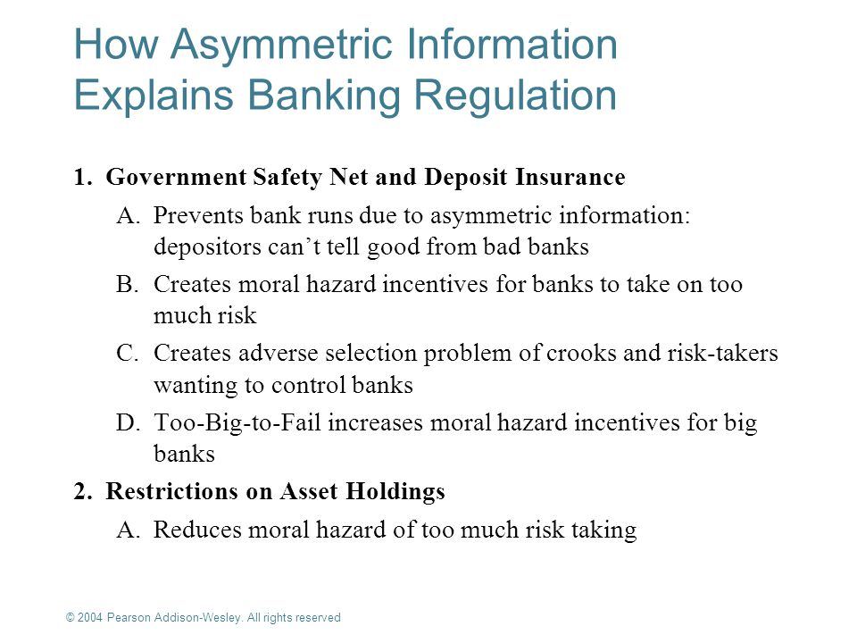 © 2004 Pearson Addison-Wesley. All rights reserved 10-15 How Asymmetric Information Explains Banking Regulation 1.Government Safety Net and Deposit In