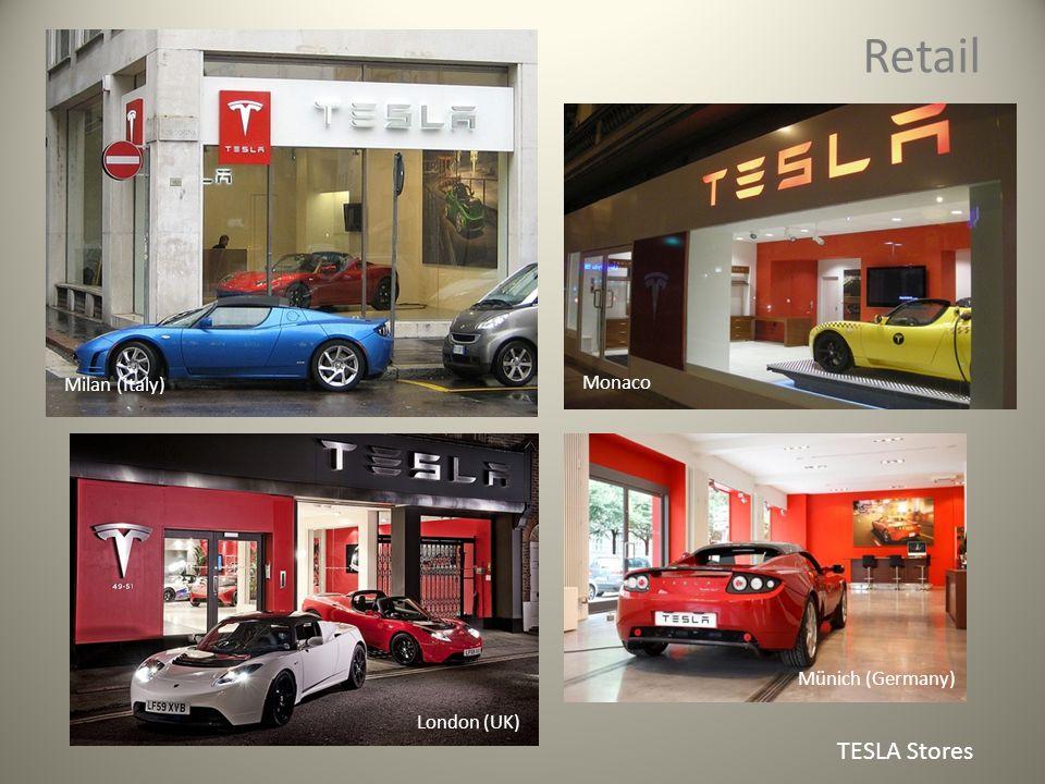 Retail TESLA Stores Münich (Germany) London (UK) Monaco Milan (Italy)