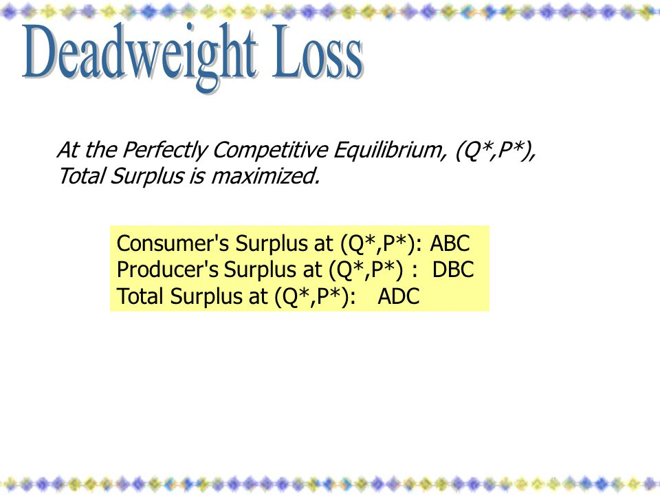 At the Perfectly Competitive Equilibrium, (Q*,P*), Total Surplus is maximized. Consumer's Surplus at (Q*,P*): ABC Producer's Surplus at (Q*,P*) : DBC