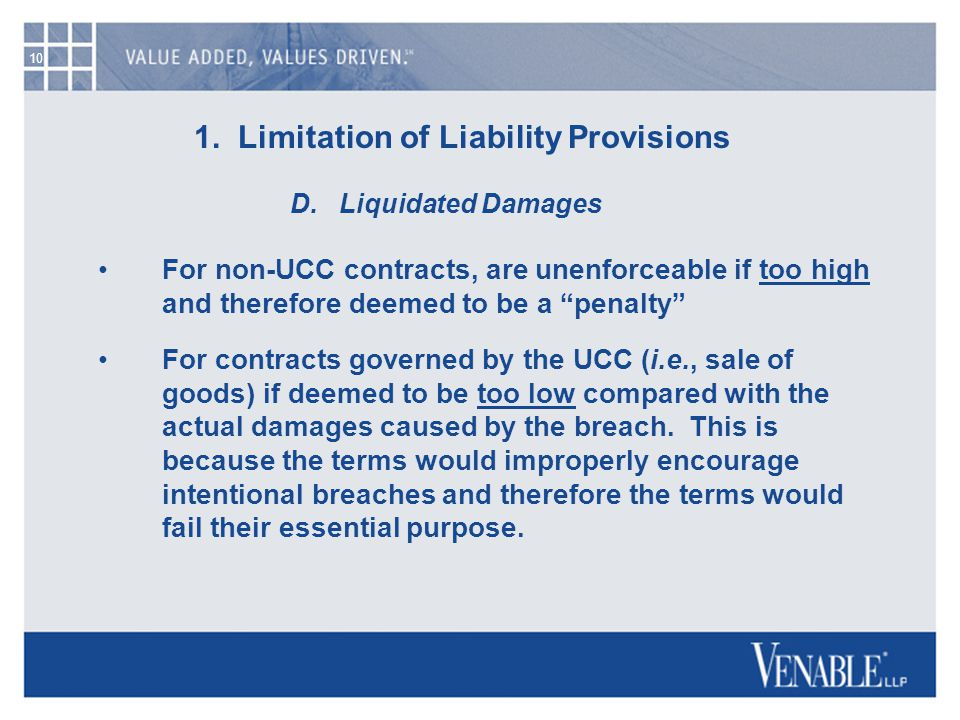 10 1. Limitation of Liability Provisions D.